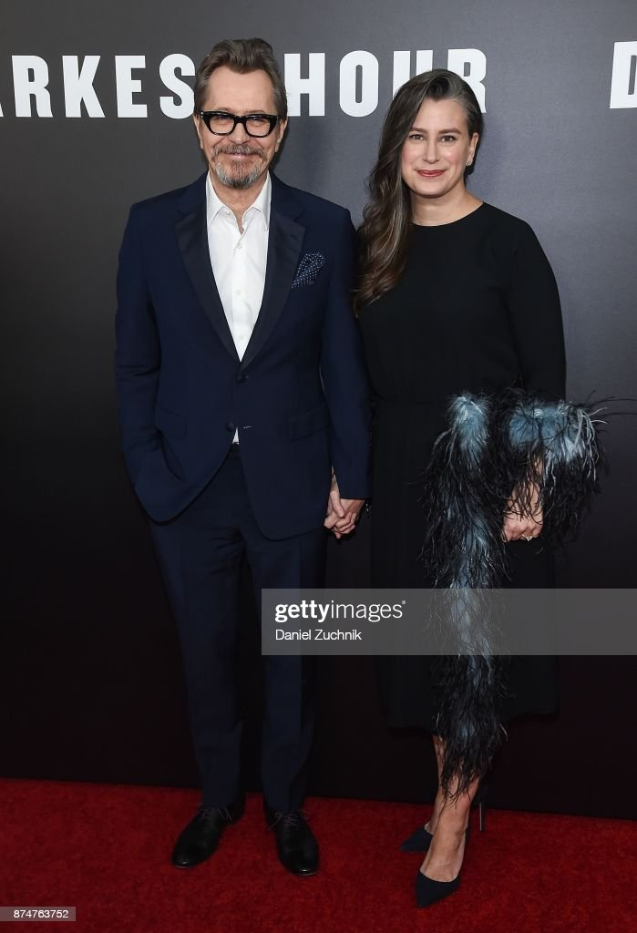 Actor Gary Oldman with wife Gisele Schmidt attend the 'Darkest Hour' New York Premiere at Paris Theatre on November 15, 2017 in New York City.