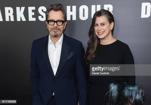 Actor Gary Oldman with wife Gisele Schmidt attend the 'Darkest Hour' New York Premiere at Paris Theatre on November 15 2017 in New York City
