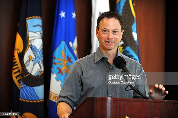Actor Gary Sinise attends a press conference at Southcom Headquarters to discuss the delivery of a humanitarian donation in Haiti carried out May 30...