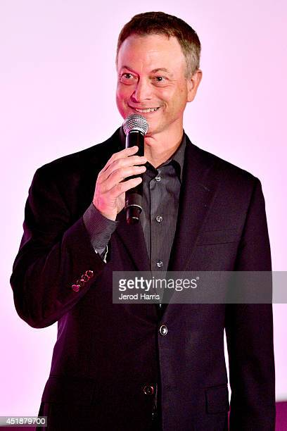 Actor Gary Sinise gives opening remarks at 'Travis A Soldier's Story' benefit screening at Village Theatre Coronado on July 8 2014 in Coronado...