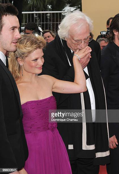 Actor Gaspard Ulliel actress Melanie Thierry and director Bertrand Tavernier attend the 'The Princess of Montpensier' Premiere held at the Palais des...