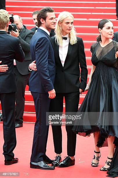 LR Actor Gaspard Ulliel actresses Aymeline Valade and Amira Casar attend the 'Saint Laurent' Premiere at the 67th Annual Cannes Film Festival on May...
