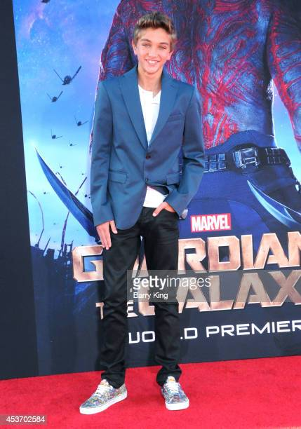 Actor Gavin Casalegno arrives at the Los Angeles Premiere 'Guardians Of The Galaxy' on July 21 2014 at the El Capitan Theatre in Hollywood California