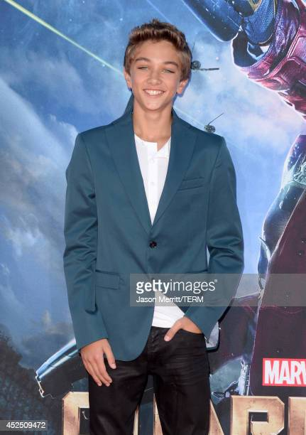 Actor Gavin Casalegno attends the premiere of Marvel's 'Guardians Of The Galaxy' at the Dolby Theatre on July 21 2014 in Hollywood California
