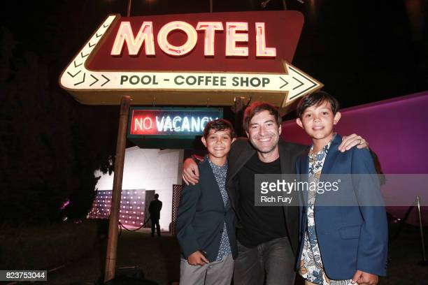 Actor Gavin Hunt creator/executive producer Mark Duplass and actor Ethan Hunt attend the premiere Of HBO's 'Room 104' at Hollywood Forever on July 27...