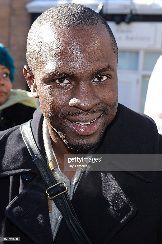 Actor Gbenga Akinnagbe enters the Wireimage portrait studio on January 19, 2013 in Park City, Utah.