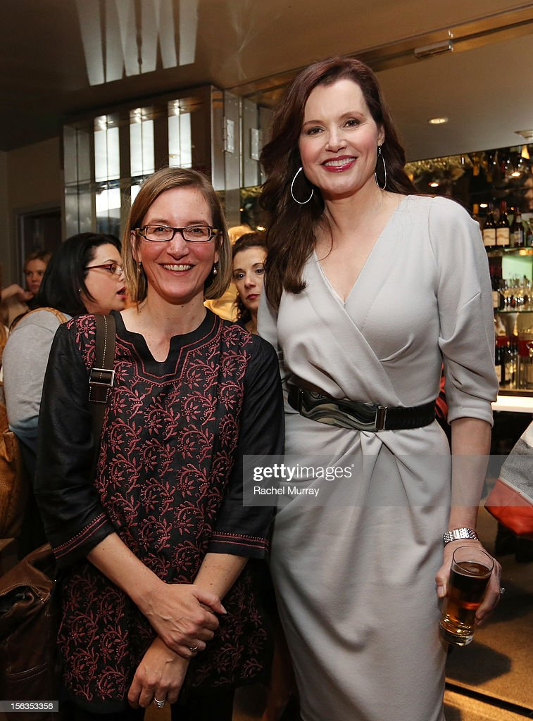 Actor <a gi-track='captionPersonalityLinkClicked' href=/galleries/search?phrase=Geena+Davis&family=editorial&specificpeople=209423 ng-click='$event.stopPropagation()'>Geena Davis</a> (R) and guest attend the <a gi-track='captionPersonalityLinkClicked' href=/galleries/search?phrase=Geena+Davis&family=editorial&specificpeople=209423 ng-click='$event.stopPropagation()'>Geena Davis</a> Institute On Gender In Media cocktail reception at SLS Hotel on November 13, 2012 in Beverly Hills, California.