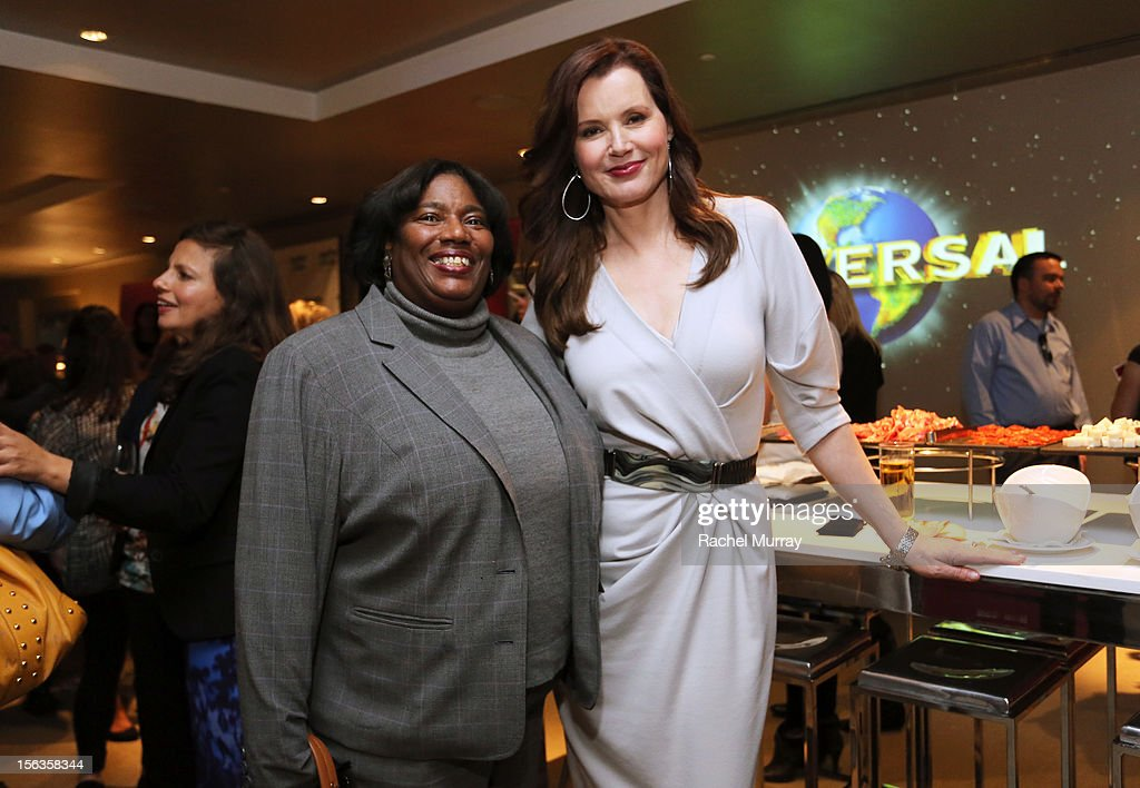 Actor <a gi-track='captionPersonalityLinkClicked' href=/galleries/search?phrase=Geena+Davis&family=editorial&specificpeople=209423 ng-click='$event.stopPropagation()'>Geena Davis</a> (R) and Jennifer Williams attend the <a gi-track='captionPersonalityLinkClicked' href=/galleries/search?phrase=Geena+Davis&family=editorial&specificpeople=209423 ng-click='$event.stopPropagation()'>Geena Davis</a> Institute On Gender In Media cocktail reception at SLS Hotel on November 13, 2012 in Beverly Hills, California.