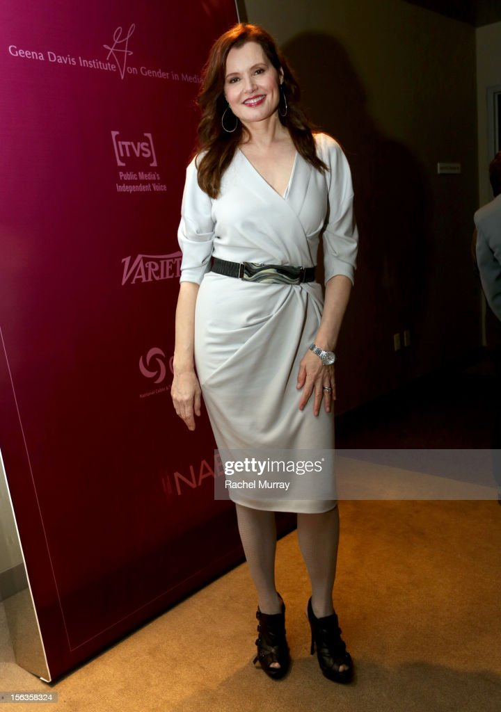 Actor <a gi-track='captionPersonalityLinkClicked' href=/galleries/search?phrase=Geena+Davis&family=editorial&specificpeople=209423 ng-click='$event.stopPropagation()'>Geena Davis</a> attends the <a gi-track='captionPersonalityLinkClicked' href=/galleries/search?phrase=Geena+Davis&family=editorial&specificpeople=209423 ng-click='$event.stopPropagation()'>Geena Davis</a> Institute On Gender In Media cocktail reception at SLS Hotel on November 13, 2012 in Beverly Hills, California.