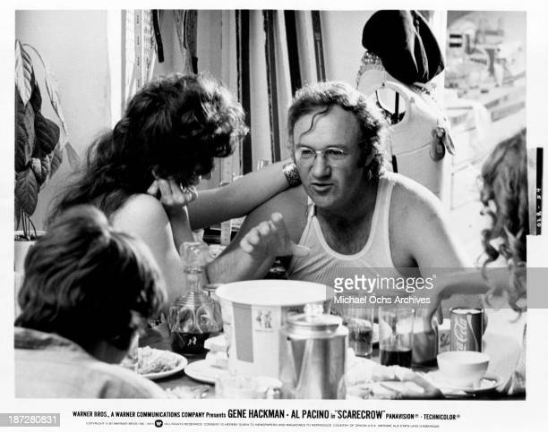 Actor Gene Hackman on set for the Warner Bros movie 'Scarecrow' in 1973