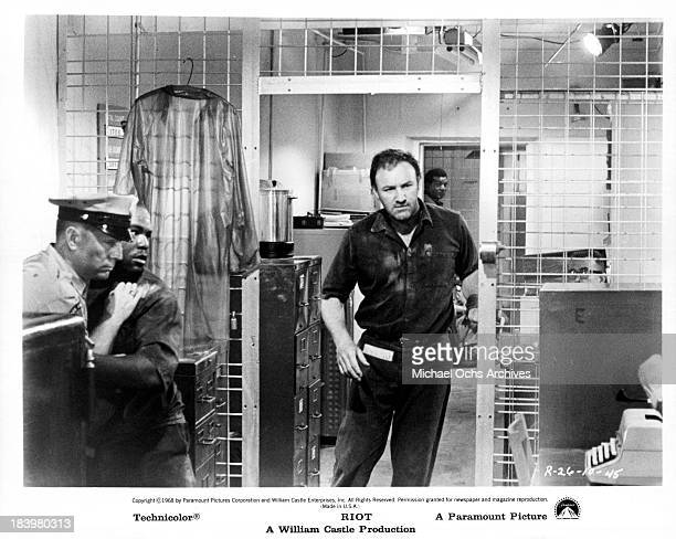 Actor Gene Hackman on set of the Paramount Pictures movie 'Riot' in 1969