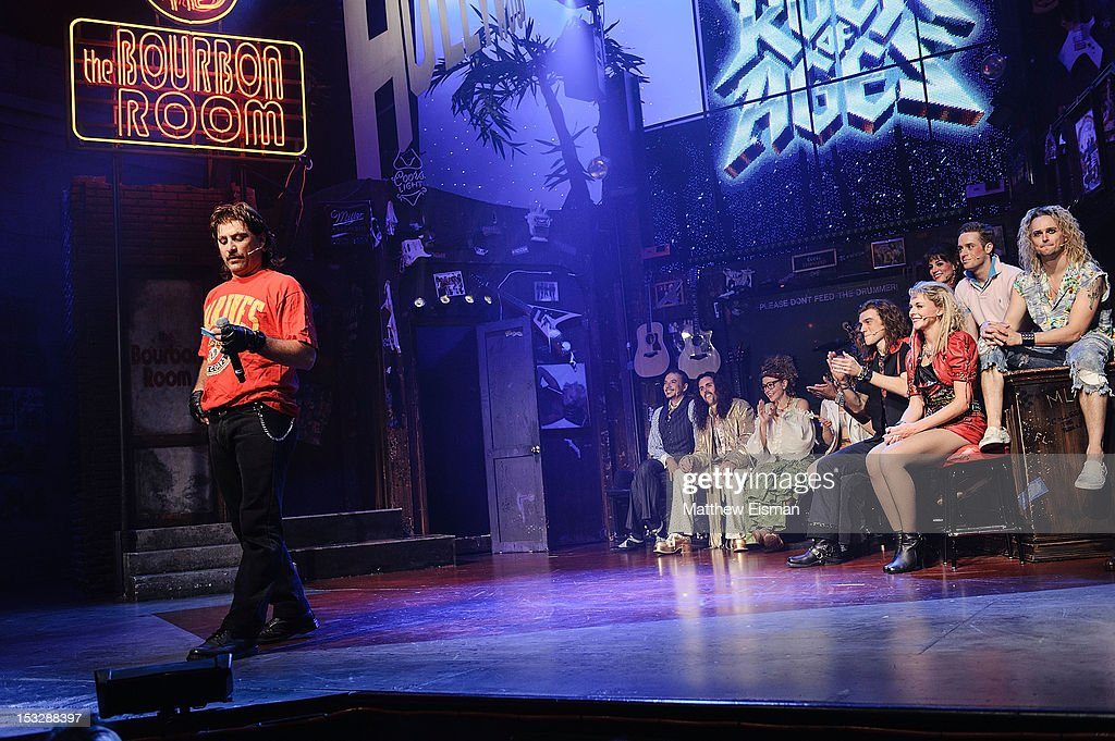 Actor Genson Blimline (L) and 'Rock Of Ages' cast members attend the 'Rock Of Ages' on Broadway Military Tribute Night at Helen Hayes Theatre on October 2, 2012 in New York City.