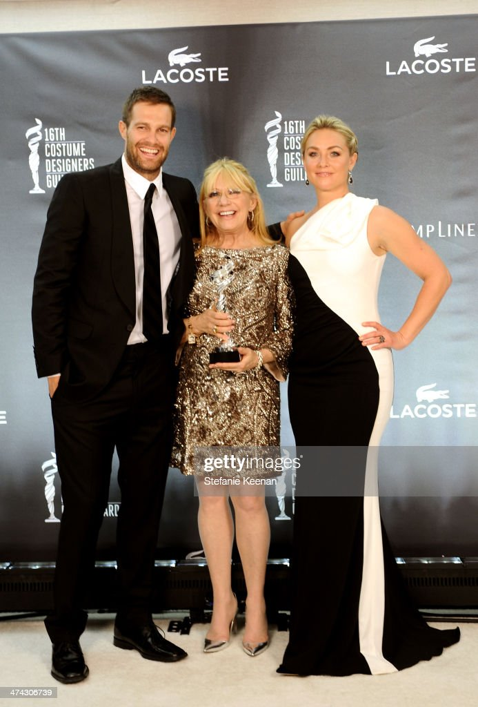 Actor Geoff Stults and actress Elisabeth Rohm pose with costume designer Ellen Mirojnick winner of the Outstanding Costume Design Award for Made For...
