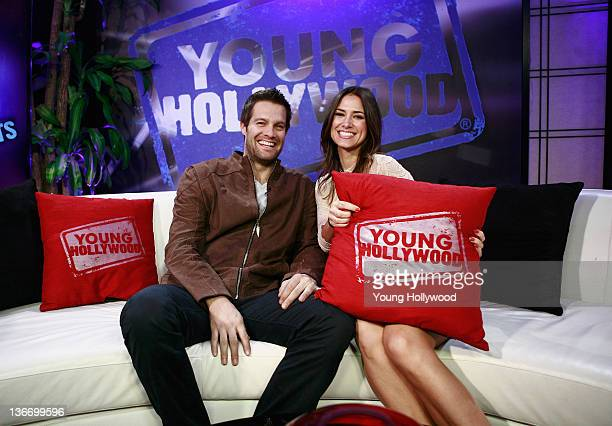 Actor Geoff Stults and host Nikki Novak at the Young Hollywood Studio on January 9 2012 in Los Angeles California