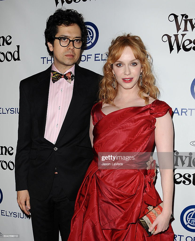 Actor Geoffrey Arend and actress Christina Hendricks attend Art of Elysium's 9th annual Heaven Gala at 3LABS on January 9, 2016 in Culver City, California.