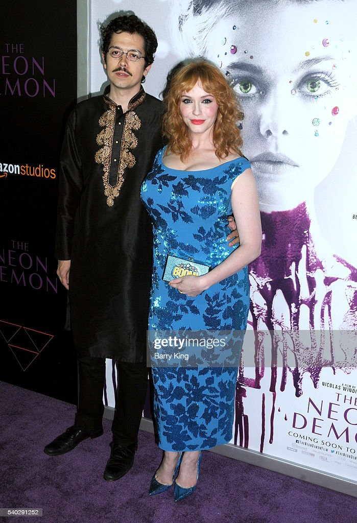 Actor Geoffrey Arend and actress Christina Hendricks attend the premiere of Amazon's 'The Neon Demon' at ArcLight Cinemas Cinerama Dome on June 14, 2016 in Hollywood, California.