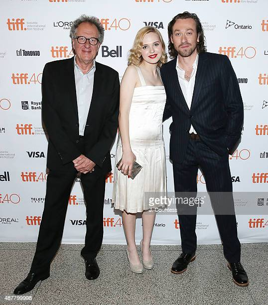 Actor Geoffrey Rush actress Odessa Young and director Simon Stone attend the 2015 Toronto International Film Festival photo call for 'The Daughter'...