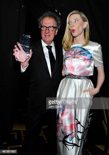 Actor Geoffrey Rush and actress Cate Blanchett atend the G'Day USA Los Angeles Black Tie Gala at JW Marriott Los Angeles at LA LIVE on January 11...