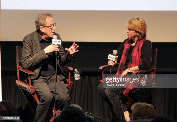 Actor Geoffrey Rush and moderator Sharon Waxman attend TheWrap's Awards Foreign Screening Series 'The Book Thief' at the Landmark Theater on December...
