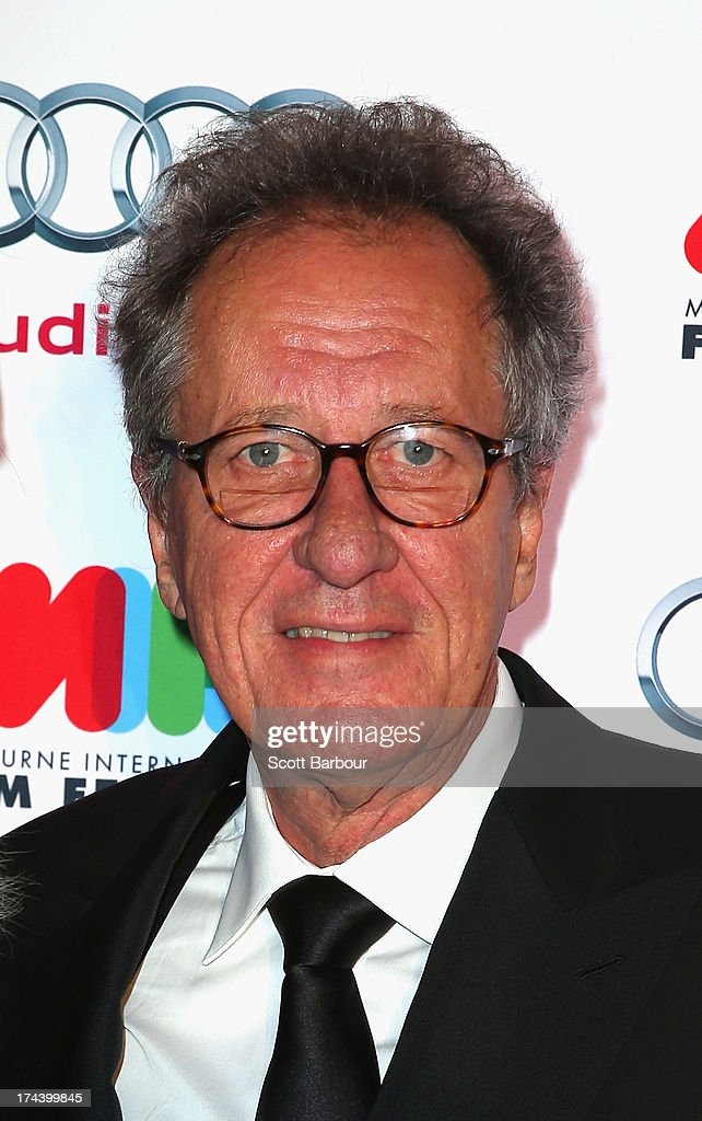 Actor Geoffrey Rush arrives at the Australian premiere of 'I'm So Excited' on opening night of the Melbourn International Film Festival at Hamer Hall...