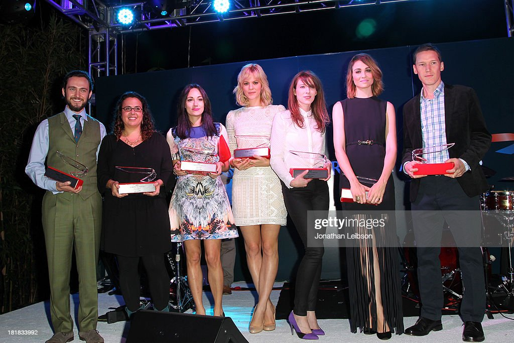 Actor George Blagden, writer/director Sally El Hosaini, musician Lauren Harris, actors Georgia King, Alexandra McGuinness and Tuppence Middleton, writer Ed Whitworth pose with awards onstage during British Airways and Variety Celebrate The Inaugural A380 Service Direct from Los Angeles to London and Discover Variety's 10 Brits to Watch on September 25, 2013 in Los Angeles, California.