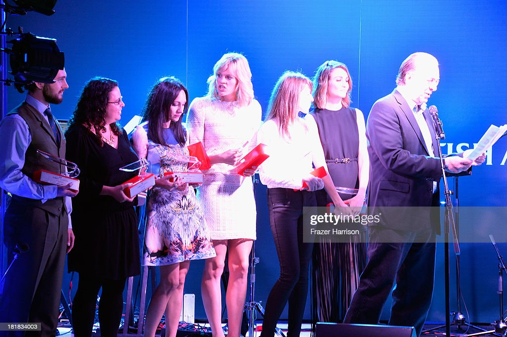 Actor George Blagden, writer/director Sally El Hosaini, musician Lauren Harris and actors Georgia King, Alexandra McGuinness and Tuppence Middleton accept awards from Vice President and Executive Editor Steven Gaydos onstage during British Airways and Variety Celebrate The Inaugural A380 Service Direct from Los Angeles to London and Discover Variety's 10 Brits to Watch on September 25, 2013 in Los Angeles, California.