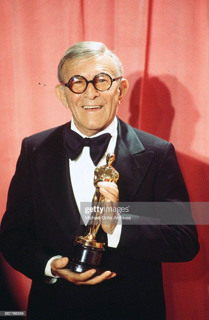 Actor <a gi-track='captionPersonalityLinkClicked' href=/galleries/search?phrase=George+Burns+-+Actor&family=editorial&specificpeople=90939 ng-click='$event.stopPropagation()'>George Burns</a> poses backstage after winning ' Best Supporting Actor' award during the 48th Academy Awards at Dorothy Chandler Pavilion in Los Angeles,California.