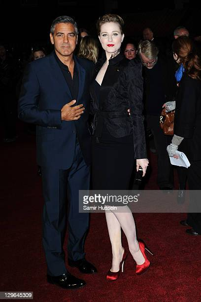 Actor George Clooney and actress Evan Rachel Wood attend 'The Ides of March' premiere during the 55th BFI London Film Festival at Odeon West End on...