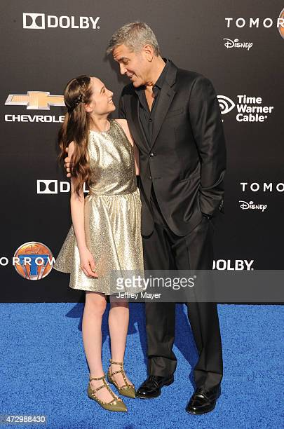 Actor George Clooney and actress Raffey Cassidy attend Disney's 'Tomorrowland' Los Angeles Premiere at AMC Downtown Disney 12 Theater on May 9 2015...