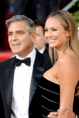 Actor George Clooney and actress Stacy Keibler arrive at the 70th Annual Golden Globe Awards held at The Beverly Hilton Hotel on January 13 2013 in...