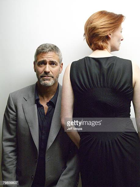 TORONTO ONTARIO SEPTEMBER 08 Actor George Clooney and actress Tilda Swinton of 'Michael Clayton' at the 2007 Diesel Portrait Studio Presented by...