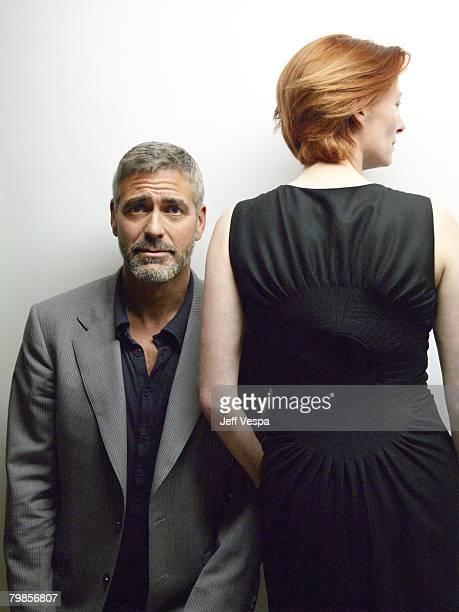 TORONTO ONTARIO SEPTEMBER 08 Actor George Clooney and actress Tilda Swinton of 'Michael Clayton' at the 2007 Diesel Portrait Studio Presented by...