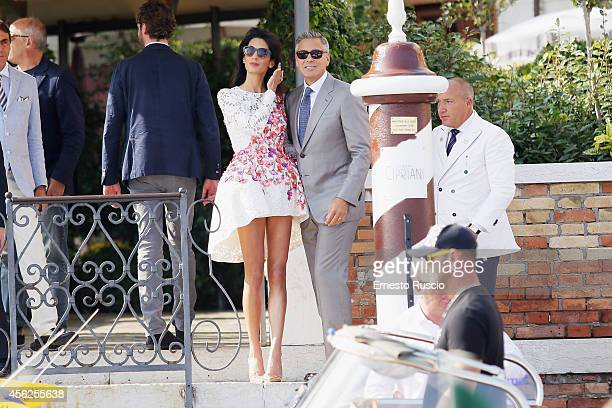 Actor George Clooney And Amal Alamuddin sighting at Canal Grande September 28 2014 in Venice Italy