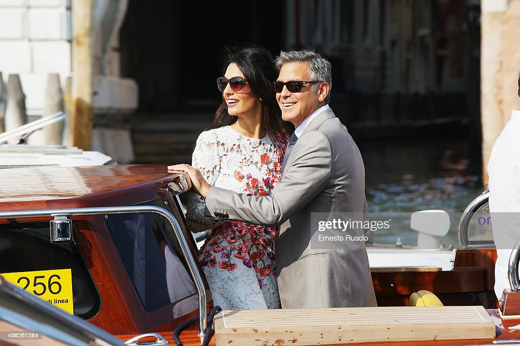 Actor George Clooney and Amal Alamuddin sighting at Canal Grande on September 28, 2014 in Venice, Italy.