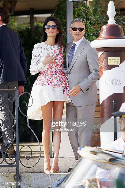 Actor George Clooney and Amal Alamuddin sighting at Hotel Cipriani September 28 2014 in Venice Italy