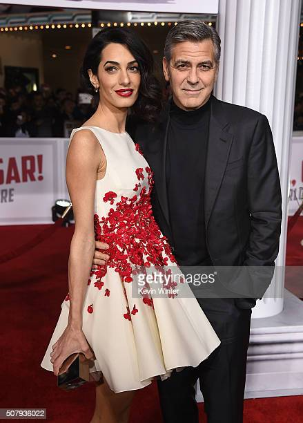 Actor George Clooney and Amal Clooney attend Universal Pictures' 'Hail Caesar' premiere at Regency Village Theatre on February 1 2016 in Westwood...