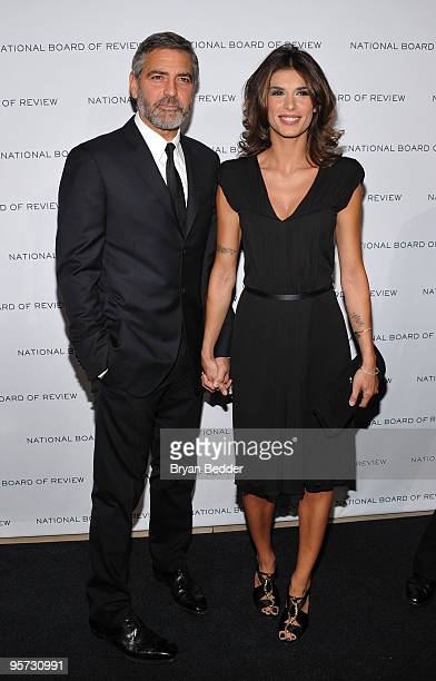 Actor George Clooney and model Elisabetta Canalis attend the National Board of Review of Motion Pictures Awards gala at Cipriani 42nd Street on...