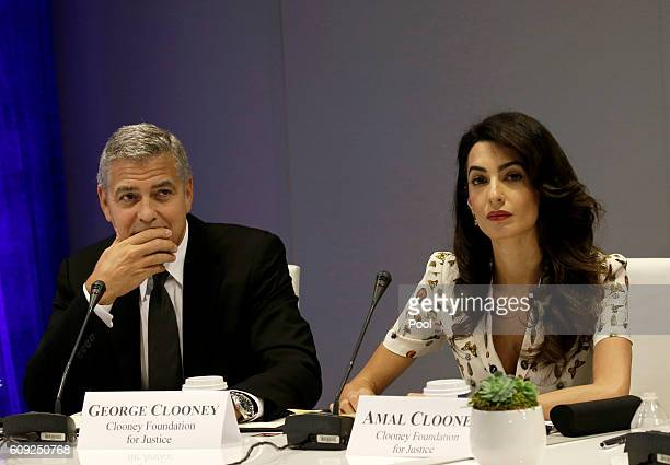 Actor George Clooney and wife Amal Clooney attend a Leaders Summit for Refugees during the United Nations 71st session of the General Debate at the...