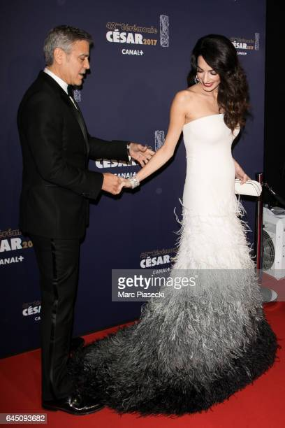 Actor George Clooney and wife Amal Clooney attend the the Cesar Film Awards 2017 ceremony at Salle Pleyel on February 24 2017 in Paris France