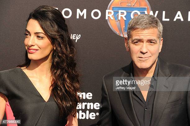 Actor George Clooney and wife/attorney Amal Clooney attend Disney's 'Tomorrowland' Los Angeles Premiere at AMC Downtown Disney 12 Theater on May 9...