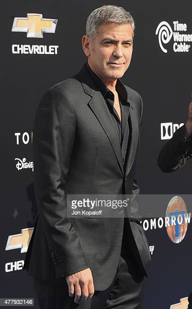 Actor George Clooney arrives at the Los Angeles Premiere of Disney's 'Tomorrowland' at AMC Downtown Disney on May 9 2015 in Lake Buena Vista Florida