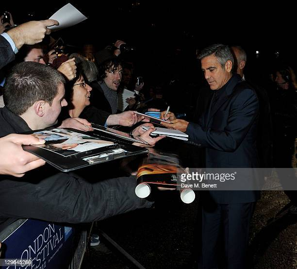 Actor George Clooney attends a Gala Screening of 'The Ides Of March' during the 55th BFI London Film Festival at Odeon Leicester Square on October 19...