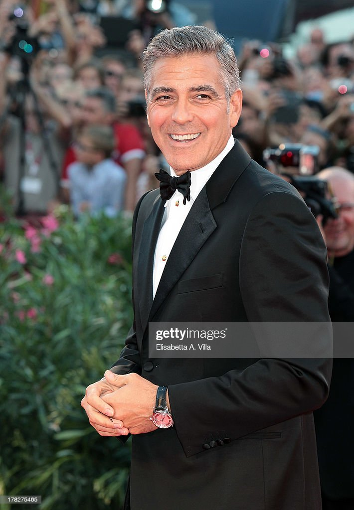 Actor <a gi-track='captionPersonalityLinkClicked' href=/galleries/search?phrase=George+Clooney&family=editorial&specificpeople=202529 ng-click='$event.stopPropagation()'>George Clooney</a> attends 'Gravity' Premiere and Opening Ceremony during the 70th Venice International Film Festival at the Palazzo del Cinema on August 28, 2013 in Venice, Italy.