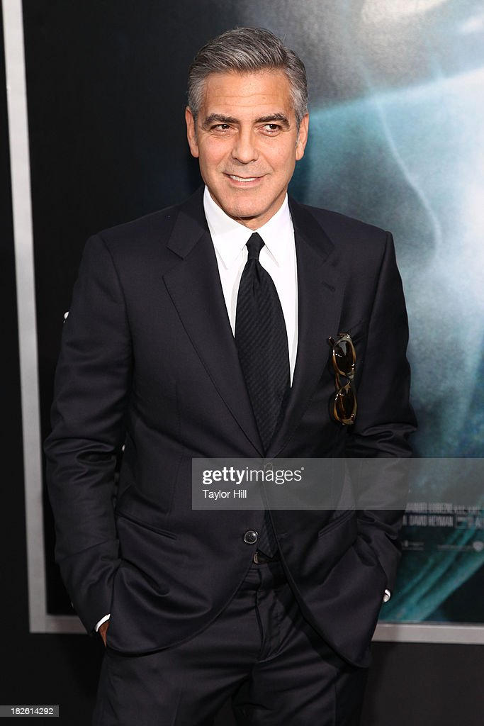 Actor <a gi-track='captionPersonalityLinkClicked' href=/galleries/search?phrase=George+Clooney&family=editorial&specificpeople=202529 ng-click='$event.stopPropagation()'>George Clooney</a> attends the 'Gravity' premiere at AMC Lincoln Square Theater on October 1, 2013 in New York City.