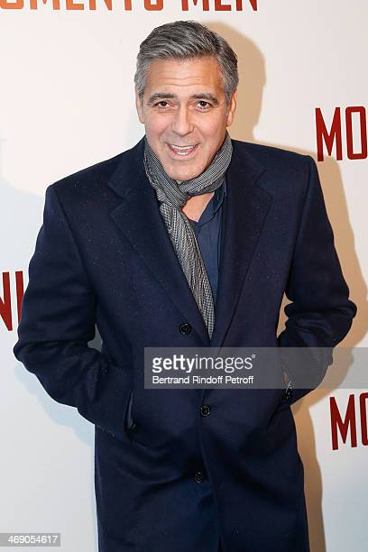 Actor George Clooney attends the 'Monuments Men' Premiere at Cinema UGC Normandie on February 12 2014 in Paris France