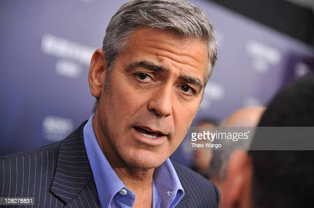 Actor George Clooney attends the premiere of 'The Ides of March' at the Ziegfeld Theater on October 5 2011 in New York City