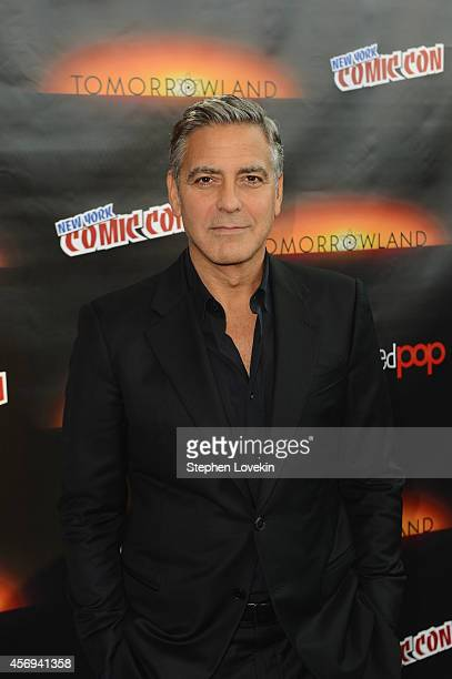 Actor George Clooney attends Walt Disney Studios' 2014 New York Comic Con presentations of 'Big Hero 6' and 'Tomorrowland' at the Javits Convention...