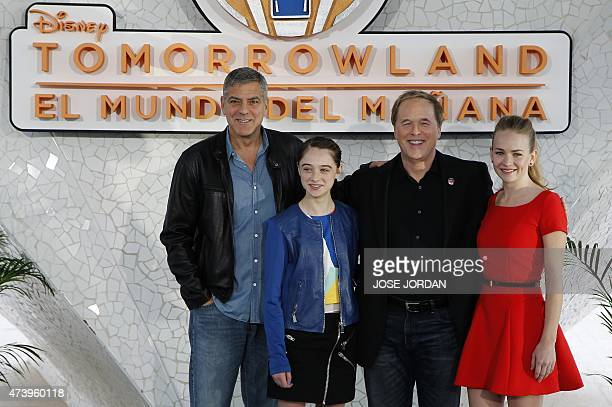 US actor George Clooney British Actress Raffey Cassidy US film director Brad Brid and US Actress Britt Robensonpose during a press conference...