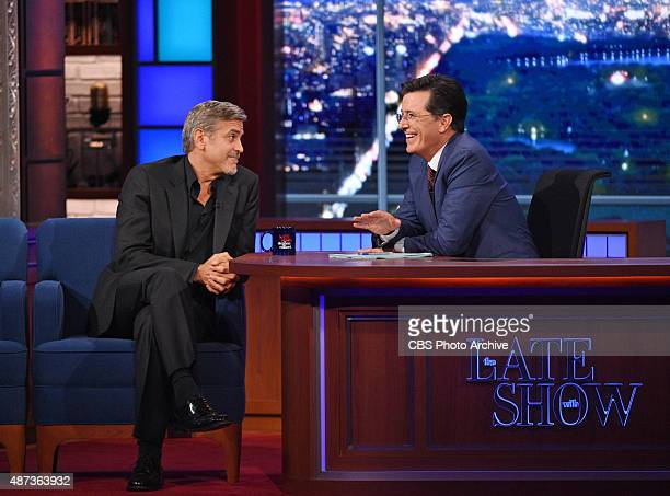 Actor George Clooney chats with Stephen on the premiere of The Late Show with Stephen Colbert Tuesday Sept 8 2015 on the CBS Television Network