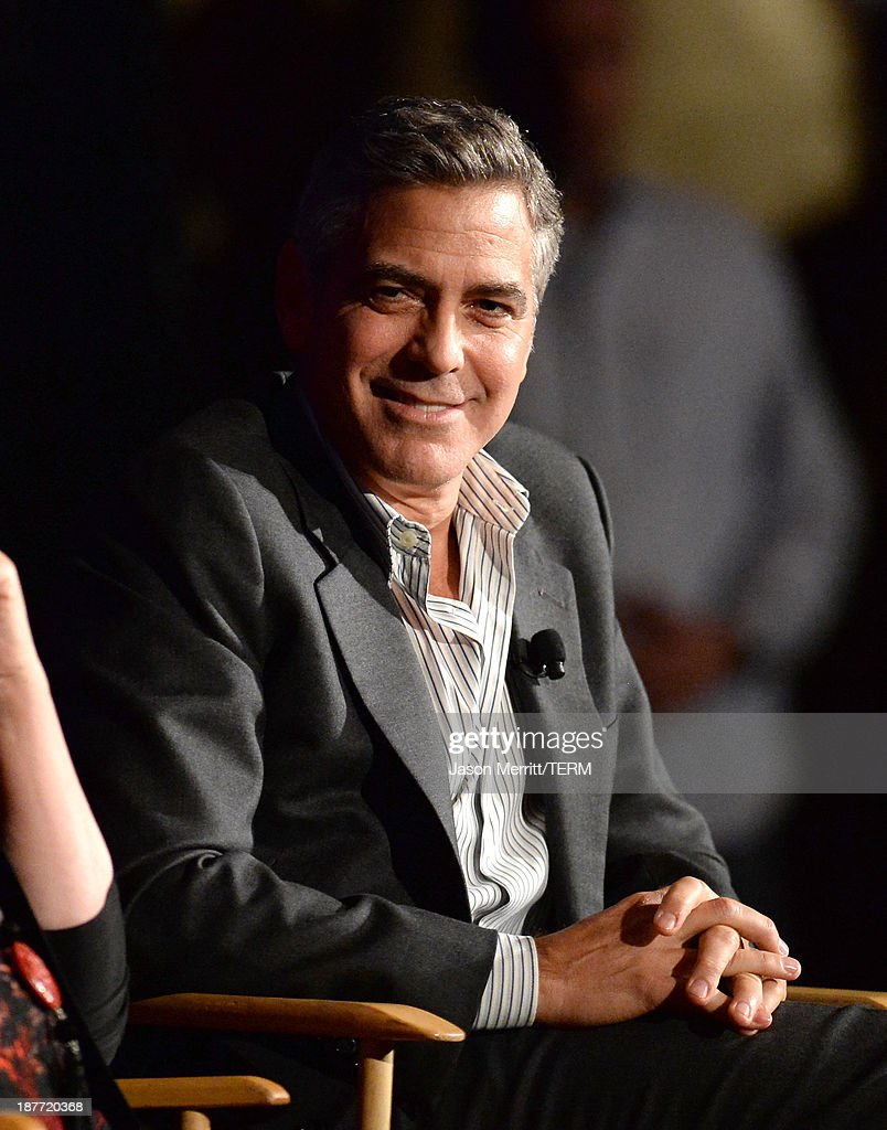 Actor <a gi-track='captionPersonalityLinkClicked' href=/galleries/search?phrase=George+Clooney&family=editorial&specificpeople=202529 ng-click='$event.stopPropagation()'>George Clooney</a> onstage during the August: Osage County screening presented by The Weinstein Company at Westwood Village Theatre on November 11, 2013 in Los Angeles, California.